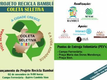 Projeto Recicla Bambuí começará em novembro