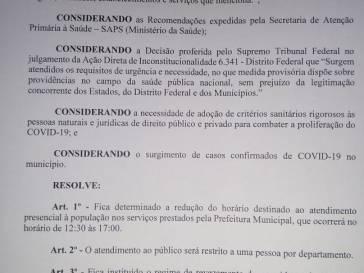 Prefeitura altera horário de atendimento ao público