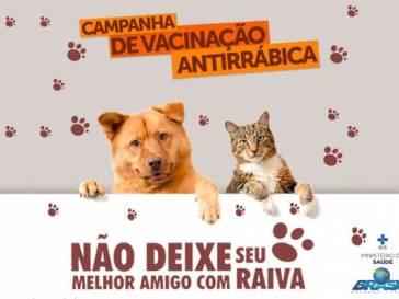 Sábado tem vacinação contra raiva em cães e gatos