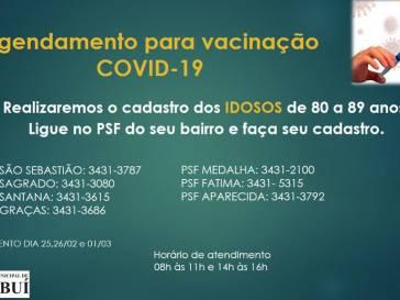 Agendamento de vacinação para idosos de 80 a 89 anos
