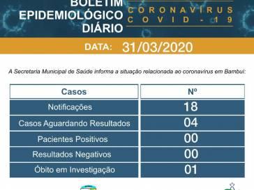 Secretaria Municipal de Saúde de Bambuí divulga boletim do coronavírus